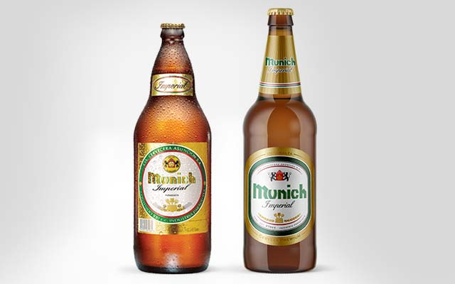Before and after comparison of Munich Imperial beer pack design, Emcesa, Paraguay - Imaginity
