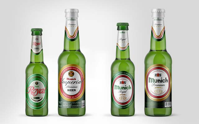 Before and after comparison of Munich Royal and Premium beer bottle label design, Emcesa - Imaginity