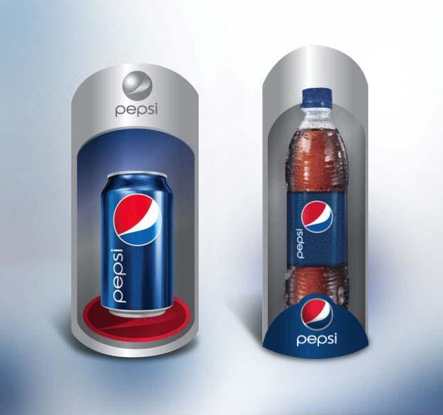 Detalle del diseño de materiales de exhibición en supermercados para Pepsi Latinoamérica. Diseño: Imaginity