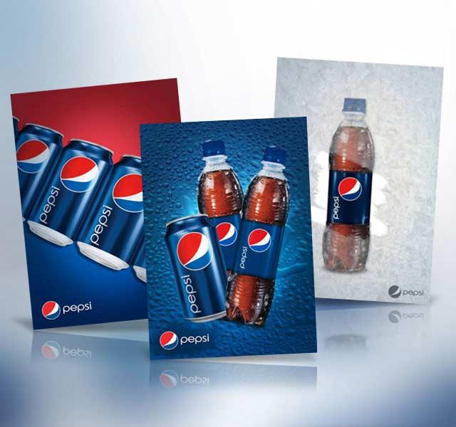 Detalle del diseño afiches para supermercados para la marca Pepsi en Latinoamérica. Diseño: Imaginity