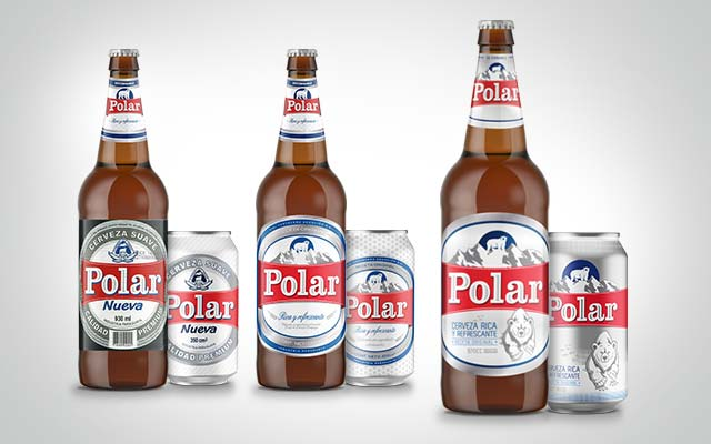 Before and after the packaging design for Polar beer from Paraguay in its bottle and can formats. Imaginity Design