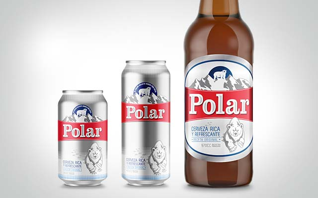 Evolution of packaging design for Polar beer from EMCESA Paraguay in its bottle and can formats. Design: Imaginity