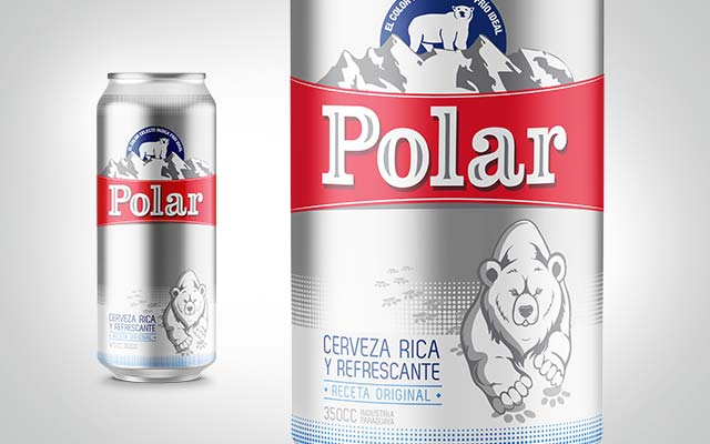 Detail of the packaging design for Polar beer from Paraguay in its bottle and can formats. Imaginity Design