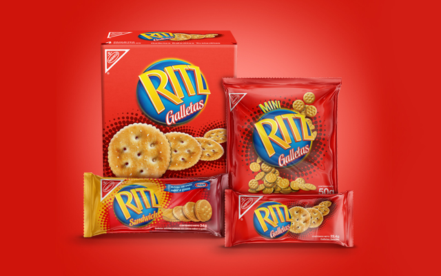 New design of packs for Ritz's complete line of snack biscuits for Kraft Foods, Ecuador - Imaginity