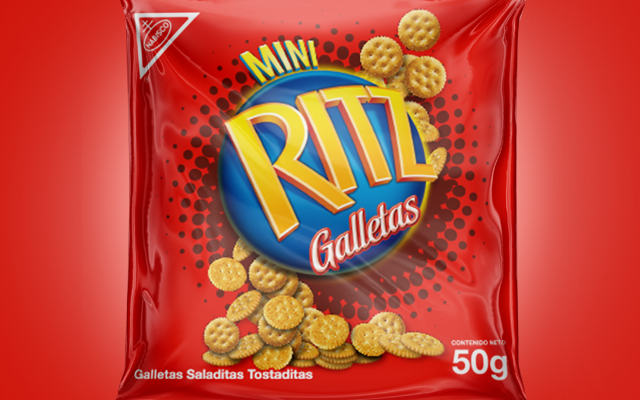 Detail of the new packaging design for the Ritz Mini toasted crackers line, Kraft Foods, Ecuador - Imaginity