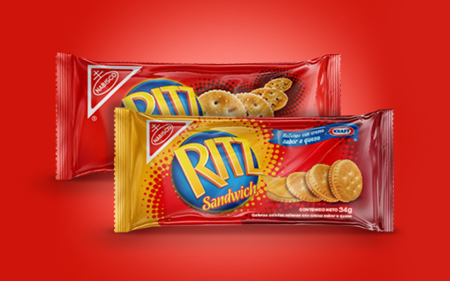 Design of the new packaging image for the Ritz sandwich biscuit line, Kraft Foods, Ecuador - Imaginity