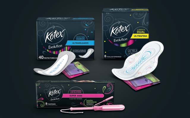 Renewal of identity, pack and product design of the feminine protection line Kotex Evolution, Latin America - Imaginity