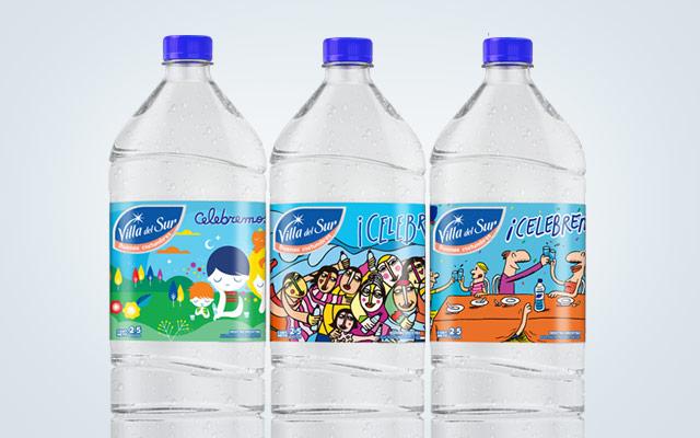 Diseño de packaging Agua Mineral Villa del Sur, edición especial homenaje a la familia argentina. Diseño: Imaginity