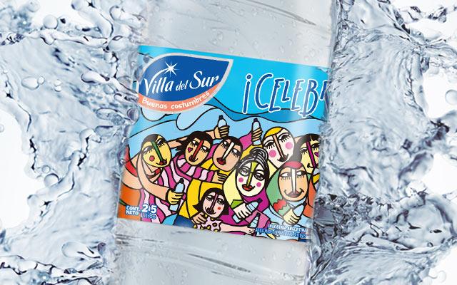 Diseño de packaging Agua Mineral Villa del Sur, edición especial. Artista: Claudio Baldrich. Diseño: Imaginity