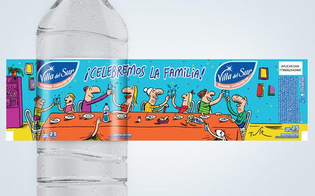 Diseño de packaging Agua Mineral Villa del Sur, edición especial. Artista: Tute. Diseño: Imaginity