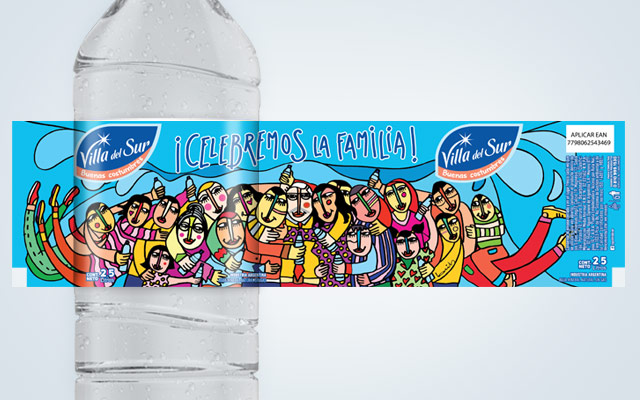 packaging design Mineral water Villa del Sur, special edition. Artist: Claudio Baldrich. Design: Imaginity