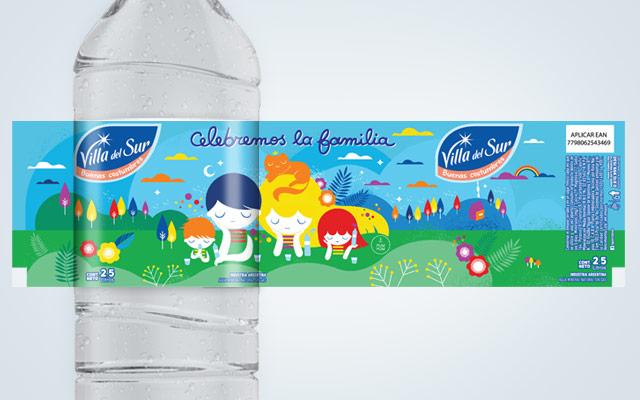 Diseño de packaging Agua Mineral Villa del Sur, edición especial. Artista: PumPum. Diseño: Imaginity