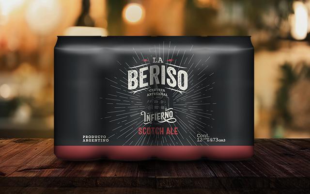 Diseño de empaque de latas, 12 pack estilo Scotch Ale La Beriso banda rock Argentina - Imaginity