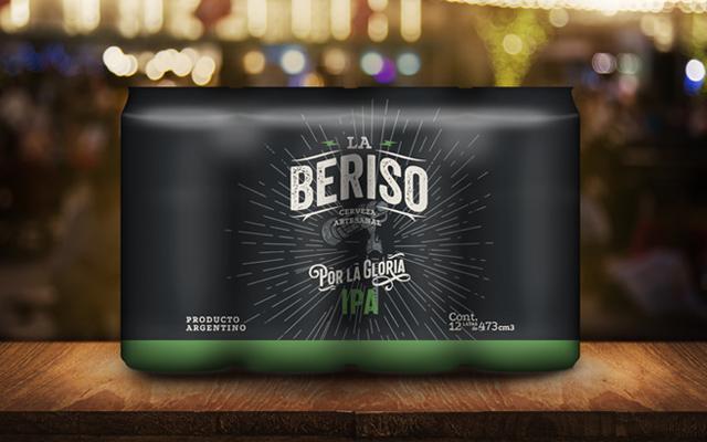 Diseño de packaging de latas y termocontraible por 12 unidades, IPA La Beriso banda rock Argentina - Imaginity