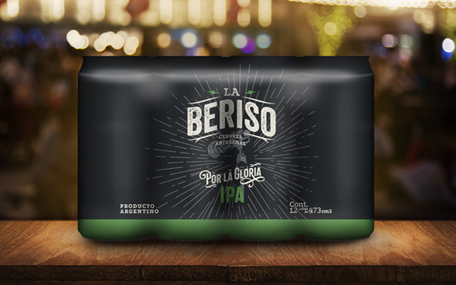 Packaging design for cans and heat shrinkable for 12 units, IPA La Beriso Argentine rock band - Imaginity