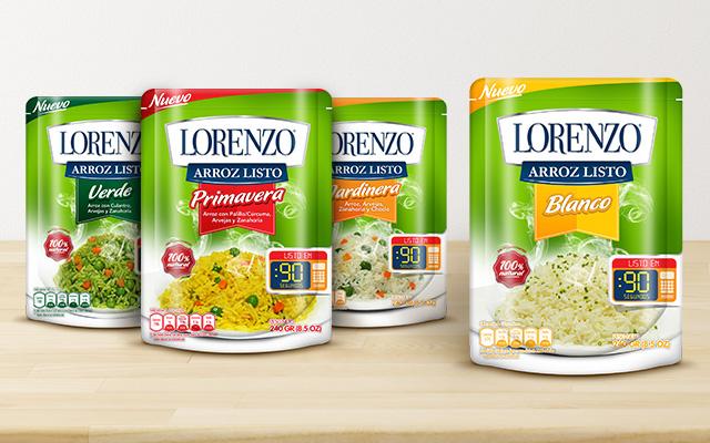 Nueva marca y packaging para las 4 variedades de arroz listo Lorenzo, primavera, verde, blanco y jardinera, Perú