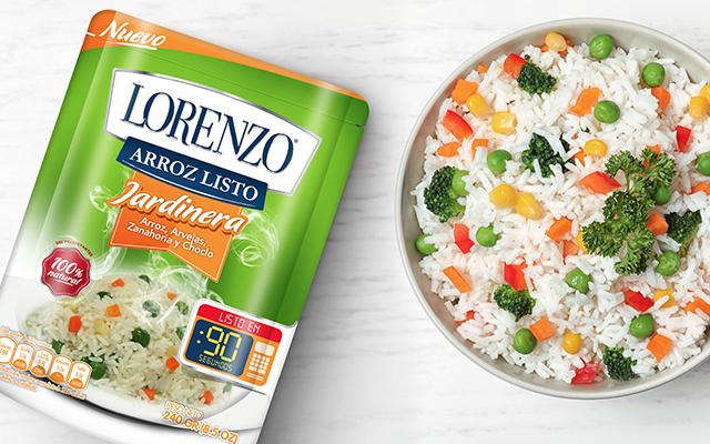 Detalle de la identidad de marca y diseño de pack para la nueva línea de productos de arroz Lorenzo, Perú - Imaginity