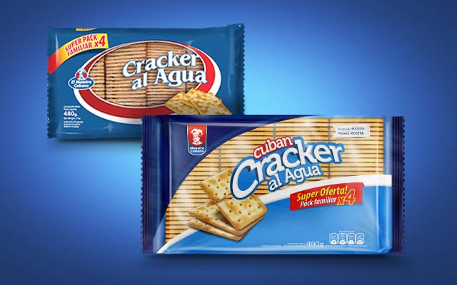 Before and after comparison of the pack design and brand identity of Crackers al agua by Maestro Cubano - Imaginity