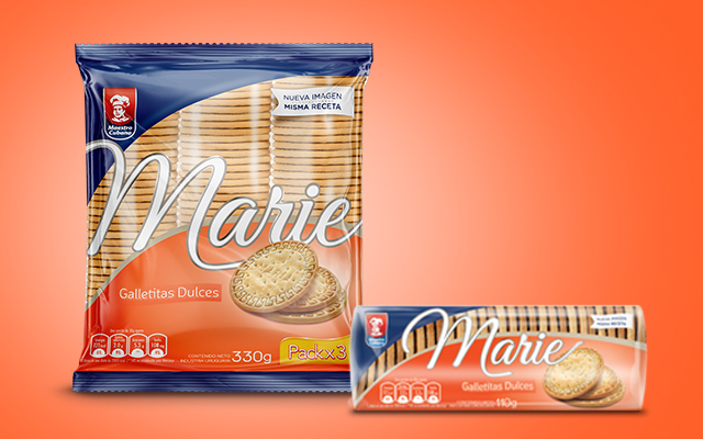 New brand identity and packaging design for the Marie biscuit line of Maestro Cubano, Uruguay - Imaginity