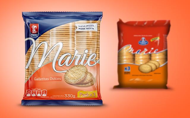 Comparación de antes y después de la nueva imagen de marca y packs de Marie de Maestro Cubano, Uruguay - Imaginity