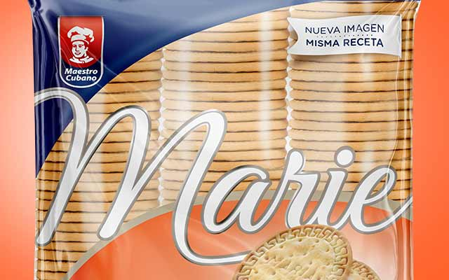 Detail packaging design and new logo of Marie sweet cookies for Maestro Cubano, Uruguay - Imaginity