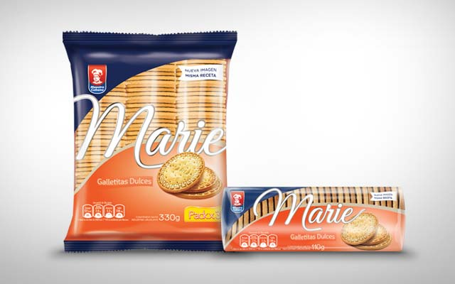 Design of pack and logo for the line of sweet cookies Marie de Maestro Cubano, Grupo Bimbo, Uruguay - Imaginity