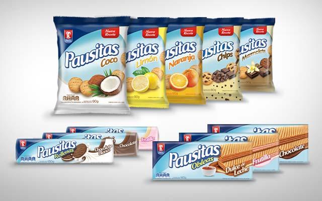 Diseño de marca y packs para la línea de galletas dulces, rellenas y obleas Pausitas de Maestro Cubano, Uruguay - Imaginity