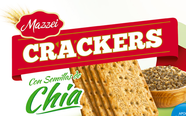 Branding and Packaging Design for Mazzei Crackers Chia variety, detail pack, Paraguay by Imaginity