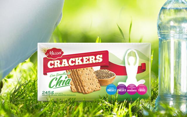 Diseño de Branding y Packaging para Mazzei Crackers, sabor Chia, Paraguay - Imaginity