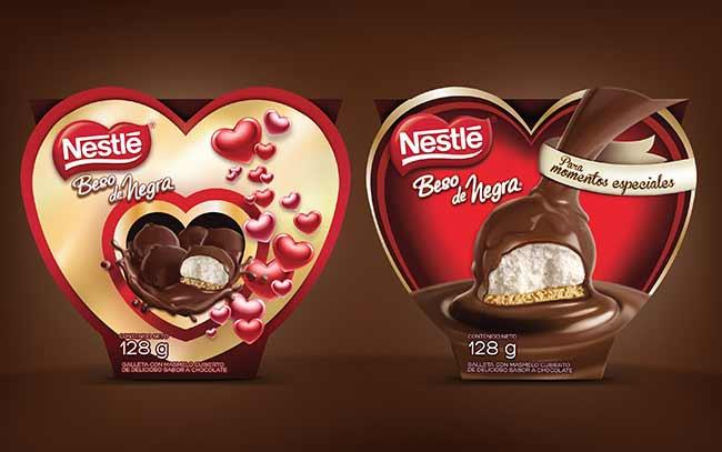 Diseño de Packaging para Nestle chocolates Beso de Negra, cajas para regalar en la semana del amor y la amistad, en Colombia - Imaginity
