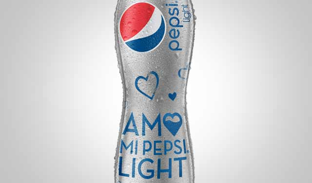 Detail of the packaging design for the new label of the special edition I Love my Pepsi Light. Mexico. Design: Imaginity