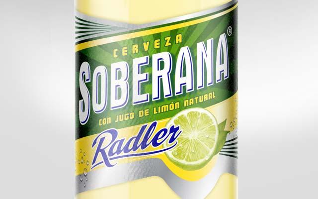 Detail of bottle label design for Soberana Radler beer, Heineken, Panama - Imaginity
