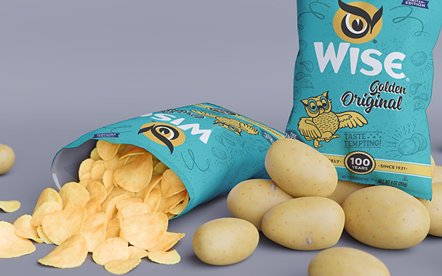 Packaging design of Golden Original flavor potato chips limited edition 100 years for Wise Snacks, United States - Imaginity