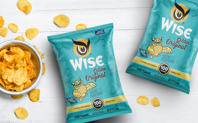 Detail of the packaging design of Golden Original snacks special edition 100th anniversary of Wise, United States - Imaginity