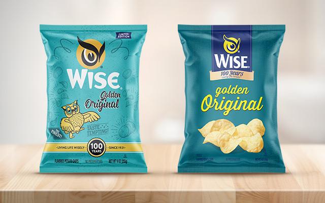 Diseño de empaque de papas fritas Golden Original estilo retro de edición limitada y edición aniversario para Wise, EEUU - Imaginity